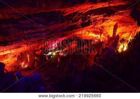 POSTOJNA CAVE, SLOVENIA - DECEMBER 21, 2017: Illumination of Postojna cave during the christmas event of Living Nativity Scenes between 25. and 30. December.