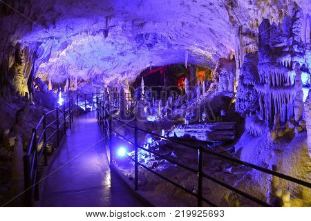 POSTOJNA CAVE, SLOVENIA - DECEMBER 21, 2017: Illumination of Postojna cave during the christmas event of Living Nativity Scenes between 25. and 30. December.