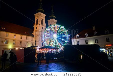 GRAZ, AUSTRIA - DECEMBER 17., 2017: Christmas decorated town of Graz during advent and holidays in December.