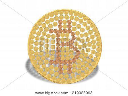 Concept of bitcoin made out of euro coins