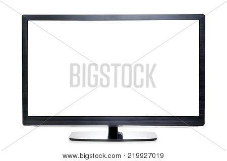 Wide screen TV or monitor isolated on white copy space on the screen. Clipping path included
