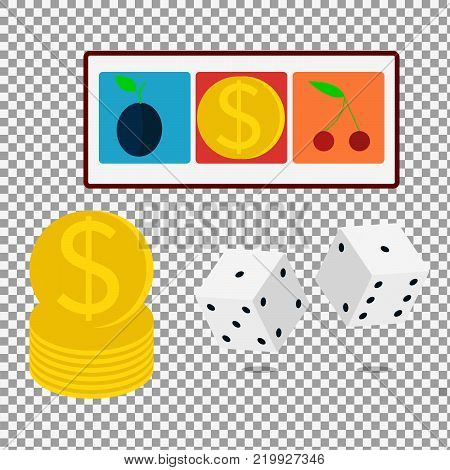 Isometric vector casino dice on transparent background. Flat design icon. -stock vector