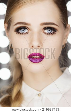 Beauty Fashion Model Portrait pink hair color. Bob Short Haircut. Fringe Hairstyle. Hairdressing. Beautiful Glamour Girl with Short blonde hair. Dyed hair, perfect makeup. poster