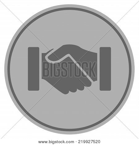 Acquisition Handshake silver coin icon. Vector style is a silver grey flat coin symbol.