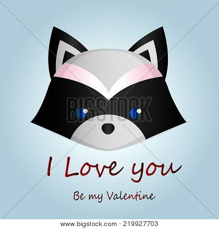 A cute romantic valentine card with a cartoon raccoon close-up on a naked gradient background. Be my Valentine