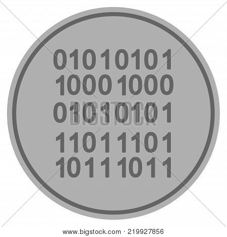 Binary Code silver coin icon. Vector style is a silver grey flat coin symbol.