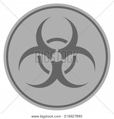 Biohazard silver coin icon. Vector style is a silver gray flat coin symbol.