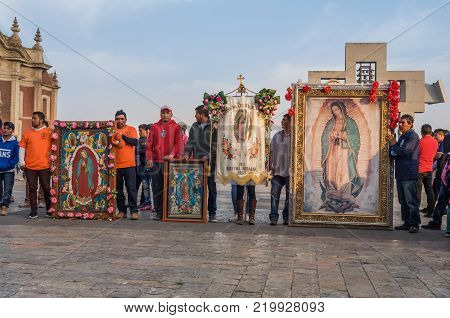 VILLA OF GUADALUPE, MEXICO CITY, DECEMBER 02, 2017 - Each year millions of pilgrims arrive to La Villa, even on days before December 12, as this of the town of the Boxtha in Hidalgo, Mexico.