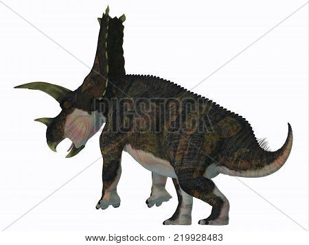 Bravoceratops Dinosaur Tail 3D illustration - Bravoceratops was a herbivorous ceratopsian dinosaur that lived in Texas, USA in the Cretaceous period. poster