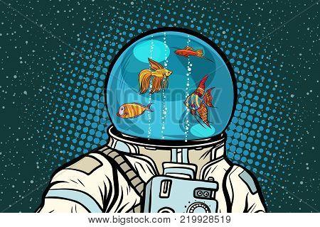 Astronaut with helmet aquarium with fish. Pop art retro vector illustration