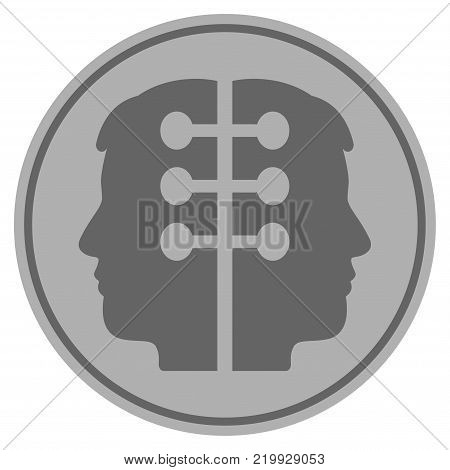 Dual Head Interface silver coin icon. Vector style is a silver gray flat coin symbol.