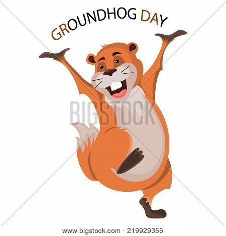 Happy Groundhog Day design with cute groundhog.Vector Stock