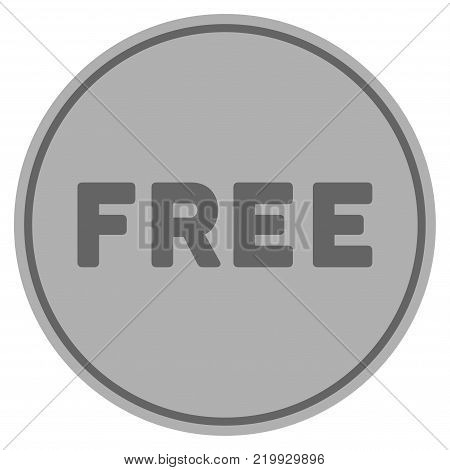 Free silver coin icon. Vector style is a silver grey flat coin symbol.