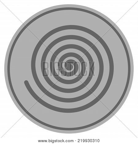 Hypnosis Spiral silver coin icon. Vector style is a silver grey flat coin symbol.