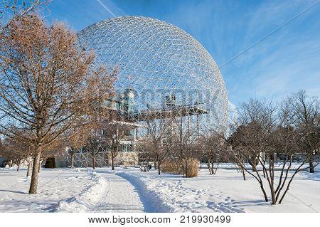 Montreal, CA - 28 December 2017: Biosphere in Parc Jean Drapeau, in winter