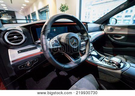 BERLIN - DECEMBER 21, 2017: Showroom. Cabin of the executive car Mercedes-Benz E-Class E220d (W213). Since 2017.