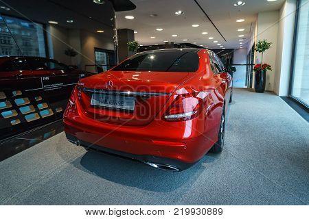 BERLIN - DECEMBER 21, 2017: Showroom. Executive car Mercedes-Benz E-Class E220d (W213). Rear view. Since 2017.