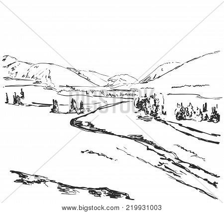 Vector illustration. Hand drawn Mountains sketch landscape with fields, hills and tree. Line design.