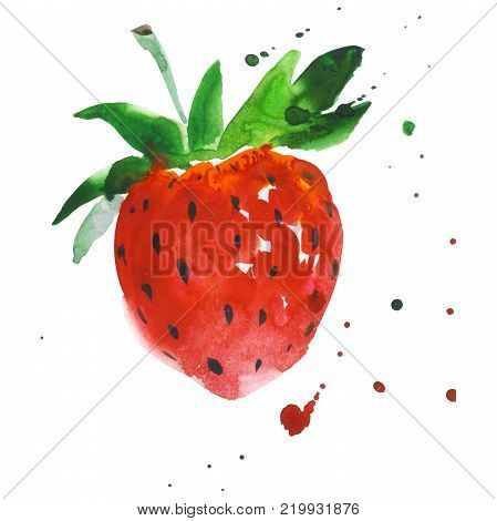 Exotic strawberry healthy food in a watercolor style isolated. Full name of the fruit: strawberry. Aquarelle wild fruit for background, texture, wrapper pattern or menu.