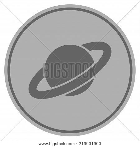 Planet Saturn silver coin icon. Vector style is a silver gray flat coin symbol.
