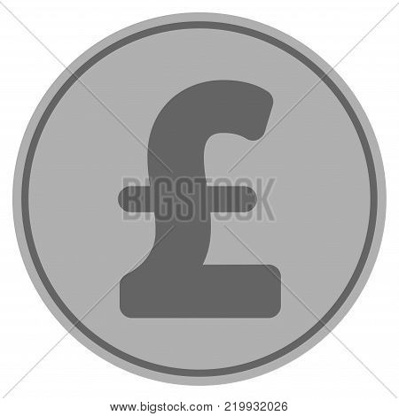 Pound Sterling silver coin icon. Vector style is a silver grey flat coin symbol.