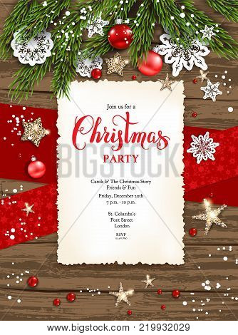 Christmas Leaflet Background.Holiday Christmas Vector Photo Free Trial Bigstock