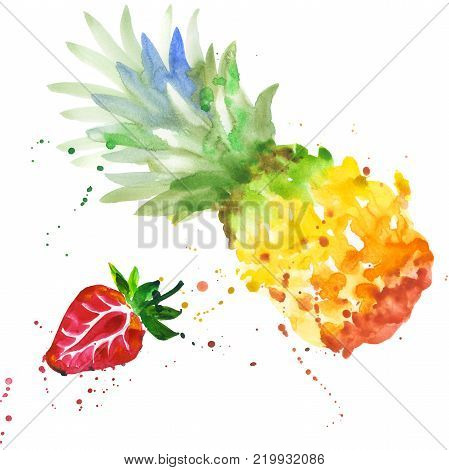 Exotic strawberry and pineapple healthy food in a watercolor style isolated. Full name of the fruit: strawberry, pineapple. Aquarelle wild fruit for background, texture, wrapper pattern or menu.