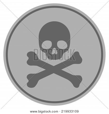Skull And Crossbones silver coin icon. Vector style is a silver gray flat coin symbol.
