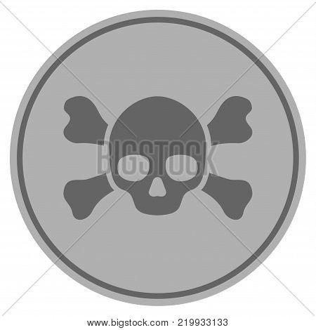 Skull Crossbones silver coin icon. Vector style is a silver grey flat coin symbol.