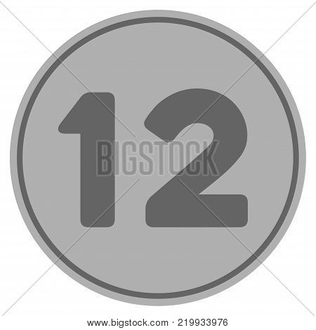 Twelve silver coin icon. Vector style is a silver grey flat coin symbol.