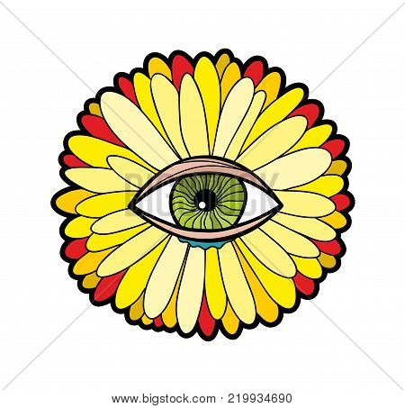 Transvaal daisy isolated on the white background. Colorful vector illustration with strange flower and the human eye in the crenter.