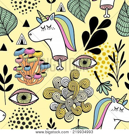 Colorful wallpaper with dead unicorn and human eyes. Psychodelic vector background.