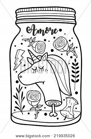 Dead unicorn head in the jar illustration for adult coloring. Doodle vector prin