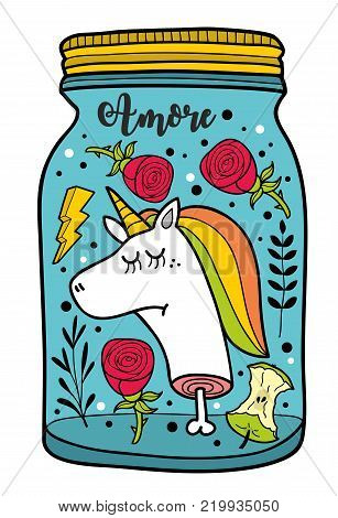 Dead unicorn head in the jar. Colorful vector illustration isolated on the white background.