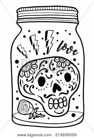 Black and white jar with skull inside, Vector illustration for adult coloring.