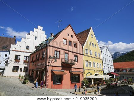 Fussen, Germany - July 22, 1017: Historic Center of Fussen, the southern terminus of the Romantic Road in Bavaria, Germany.
