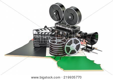 Kuwait cinematography, film industry concept. 3D rendering isolated on white background