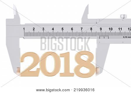 Vernier caliper with 2018, analysis of year concept. 3D rendering