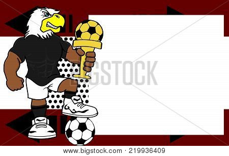 strong sporty eagle futbol soccer player cartoon picture frame background in vector format