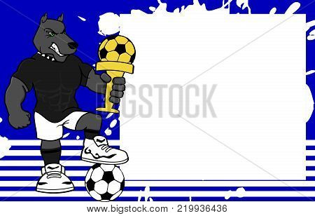 strong sporty dog futbol soccer player cartoon picture frame background in vector format