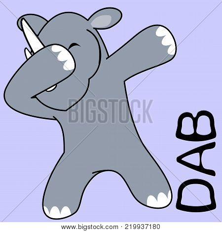 dab dabbing pose rhino kid cartoon in vector format very easy to edit