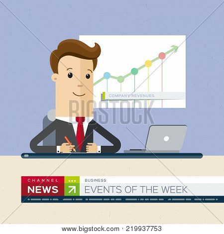 Television news announcer on background TV breaking news. Vector illustration, flat design.