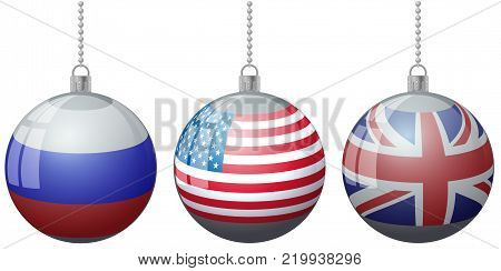 Set of colorful Christmas tree vector ornament balls with USA Russia Great Britain flags with ball chain ribbon. US GB England vector flags on baubles. Vector flags USA Russia relations friendship