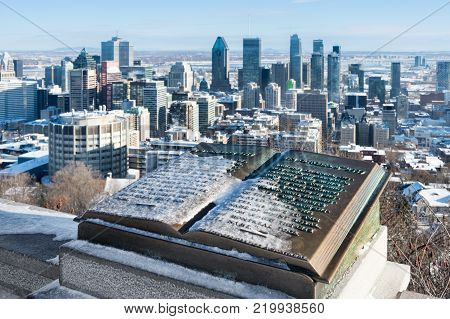 Montreal, Ca - 26 December 2017: Downtown Montreal And Plaque Of Jacques Cartier Located At The Summ