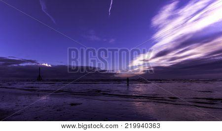 Sunset on Crosby Beach, Crosby, Liverpool, United Kingdom
