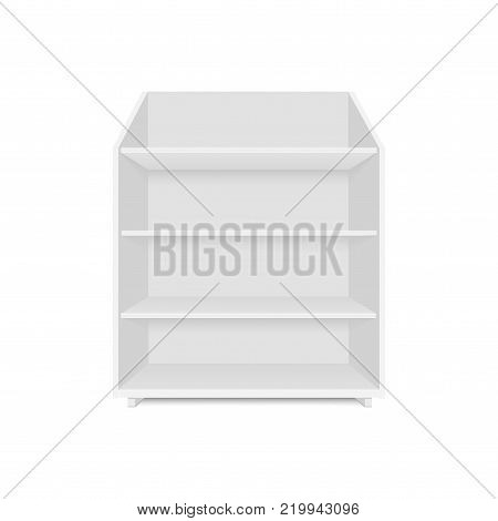 Set of blank empty showcases display with retail shelves. Front view. Vector mock up template ready for your design.