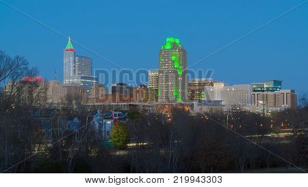 View on Downtown Raleigh, NC USA at dusk  during winter holidays