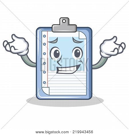 Grinning clipboard character cartoon style vector illustration