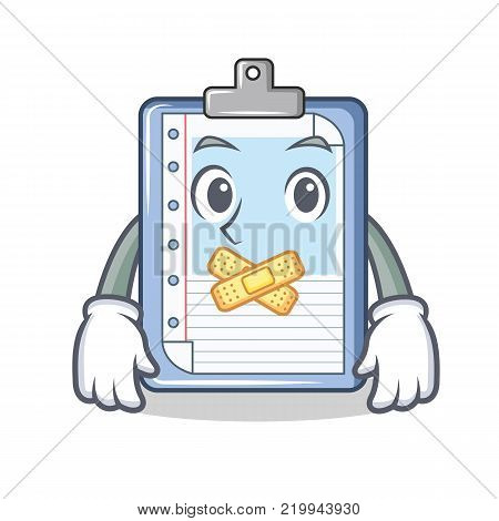 Silent clipboard character cartoon style vector illustration