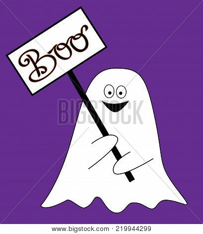 Happy Halloween Holiday Boo Sign with Ghost Smiling